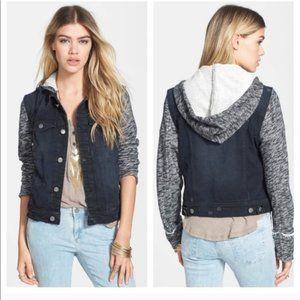 Free People Hooded Black Denim Jacket w/Sweater